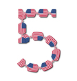 Number 5 made of USA flags in form of candies vector image vector image