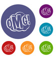 omg comic text speech bubble icons set vector image vector image