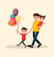 paternity father with son and daughter have fun vector image