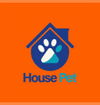 paw pet house logo template design vector image vector image