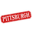 pittsburgh red square grunge retro style sign vector image vector image