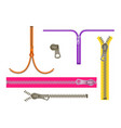 set fashion elements basic plastic zipper open vector image vector image