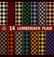 set lumberjack plaids seamless patterns vector image vector image