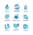 set of blue aqua logos labels for water bottles vector image vector image