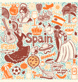 set of symbols of spain in hand-drawn style vector image vector image
