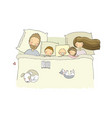 sleeping family mom dad and children sweet vector image