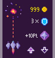 space pixel game spaceship and points icons set vector image vector image