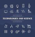 technologies and science line icons set on grunge vector image vector image