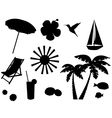 tropical icons vector image vector image
