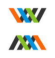 w and m letter logo template design vector image