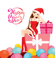Woman In Santa Costume Sitting On Big Gift Box vector image