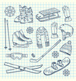 hand drawn winter sports equipment on vector image