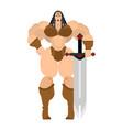 barbarian woman lady viking strong female warrior vector image vector image