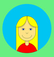 blonde girl with long hair in a red shirt avatar vector image vector image