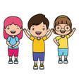 Boy and girls happy cartoon
