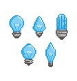 bulb pixel style set - isolated vector image vector image