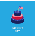 Cake with star and strip flag Patriot day Flat vector image vector image