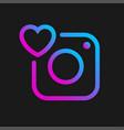 camera icon with heart social symbol vector image vector image