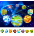 cartoon earth planets collection vector image vector image
