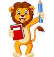 cartoon lion holding book and pencil vector image vector image