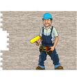 cartoon man working in a helmet vector image vector image