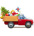 christmas truck with fir tree vector image vector image