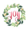 christmas wreath joy vector image