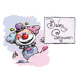 Clown Holding a Baby Shower Card vector image vector image