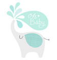 cute elephant with splashes and oh baby lettering