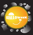 cute ghosts with moon background halloween vector image vector image