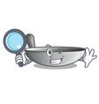 detective wok frying pan utensil kitchenware vector image