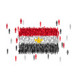 egypt state flag formed by crowd of cartoon people vector image