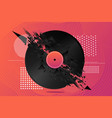 electro party banner with vinyl record music vector image