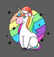 fantasy animal horse unicorn flat style vector image