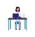 female scientist at work flat cartoon character vector image vector image
