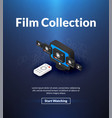 film collection poster of isometric color design vector image
