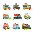food trucks collection street meal vehicles fast vector image vector image