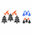 forest fire disaster composition icon round vector image vector image