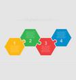four steps parts pieces puzzle hexagon infographic vector image vector image