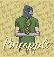 gorilla with pineapple vector image vector image