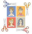 hairstyles and scissors 2 vector image vector image