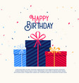 happy birthday gift boxes with falling confetti vector image