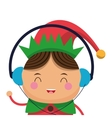 happy cute christmas elf listening to music icon vector image vector image