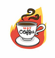 hot coffee cup on fire cartoon logo vector image vector image