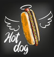hot dog with wings and halo painted on a black vector image vector image