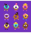 Humanized Doughnut Cartoon Characters With Arms vector image vector image