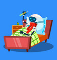 ill robot with warm scarf around neck and vector image vector image