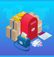 isometric concept post office mailbox magazines vector image vector image