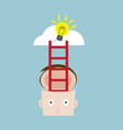 ladder from human head to bulb idea on cloud vector image