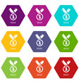medal icons set 9 vector image